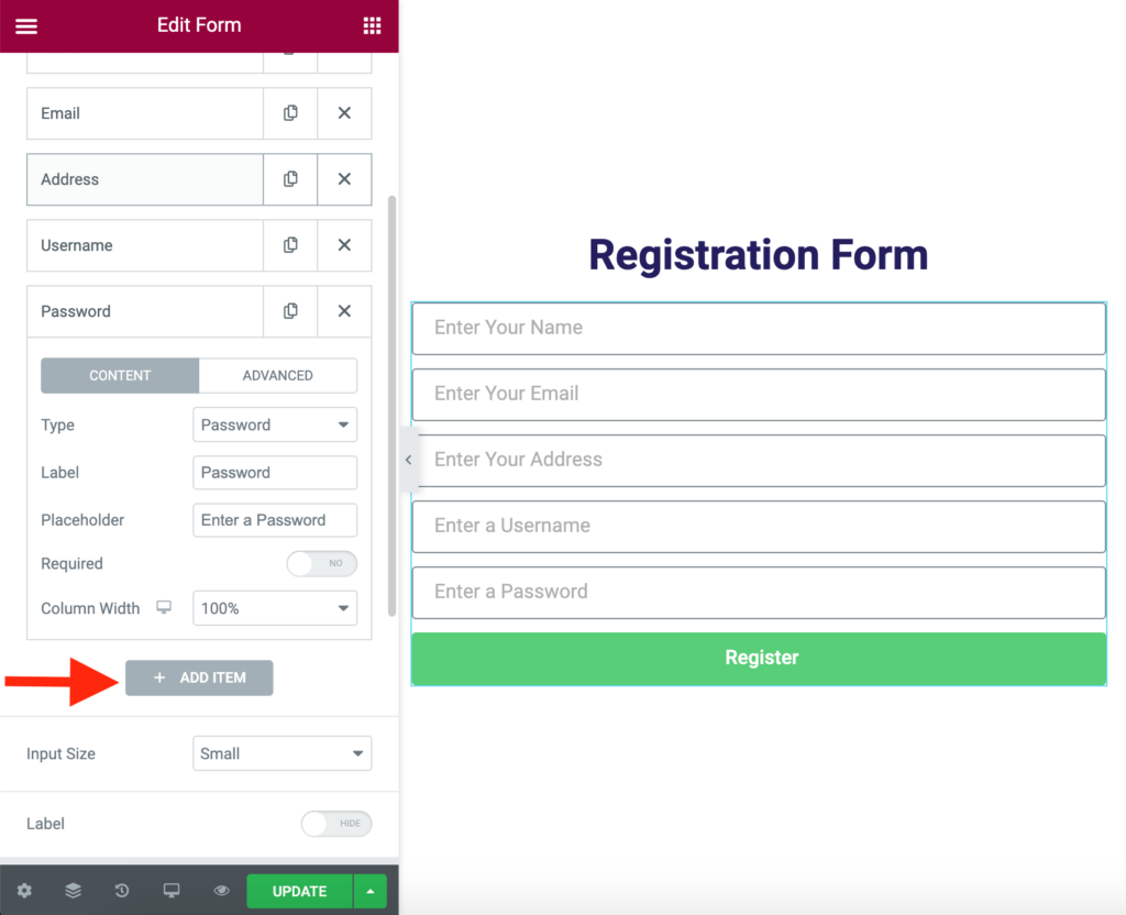 Design your Registration form using Elementor